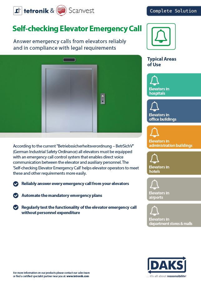 Product Info Flyer Self-checking Elevator Emergency Call