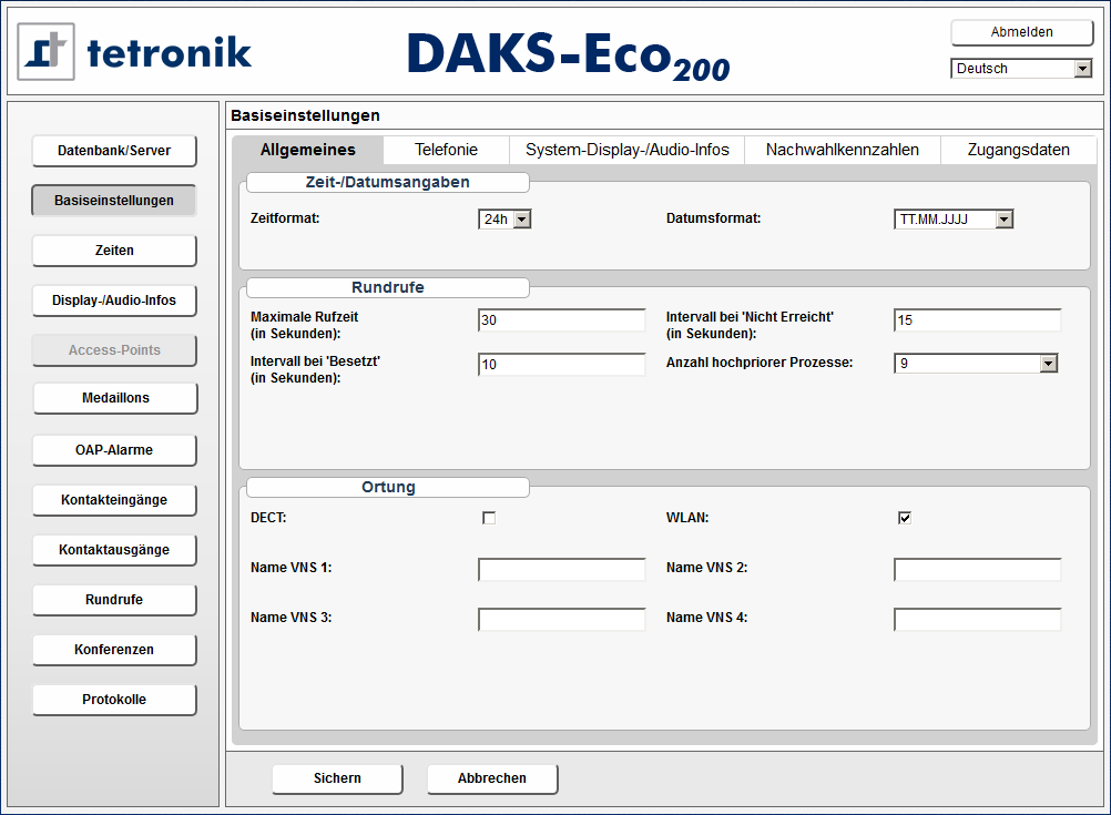 Screenshot DAKSeco user interface