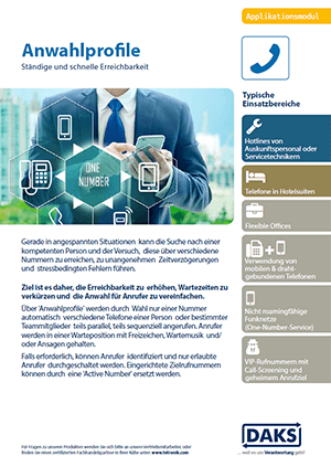 DAKS-Applikation Anwahlprofile Produktinfo-Flyer
