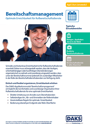 DAKS-Applikation Bereitschaftsmanagement Produktinfo-Flyer