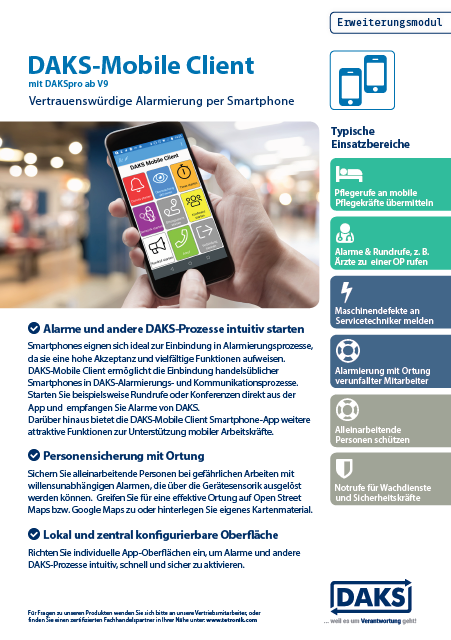 DAKS Mobile Client Product Info Flyer