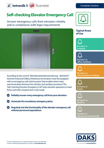 Self-checking Elevator Emergency Call – Product Info
