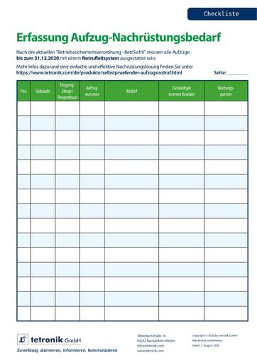 Checkliste Aufzugs-Nachrüstungsbedarf
