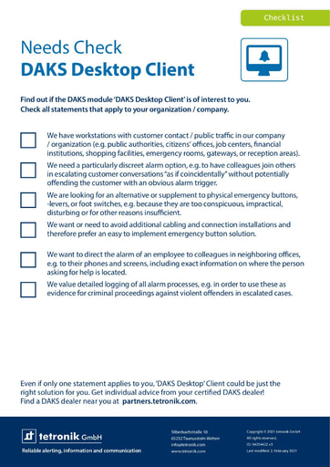 Needs Check DAKS Desktop Client